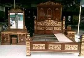 Tempat tidur kamar set ukir rahwana material kayu jato AJF012