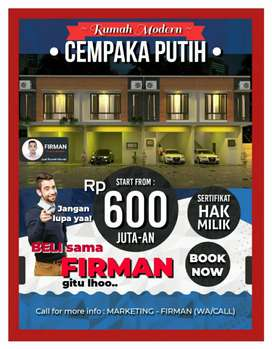 Rumah Murah Minimalis Cempaka Putih Jakarta Pusat.Hrga Apartemen Murah