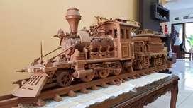 Dijual Koleksi 1 Set Miniatur Kereta Api (Antik) Kayu Istimewa.