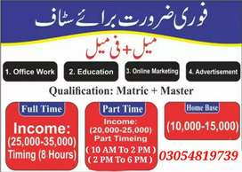 Jobs Vacancies in Lahore Full-Time /Part-Time