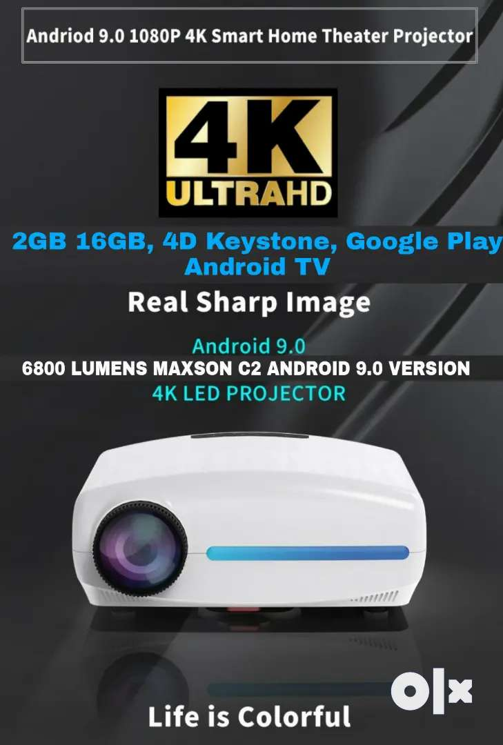 4K 3D C-2 UPGRADED ANDROID WIFI BT 6800 LM 4D CORRECTION Google TV