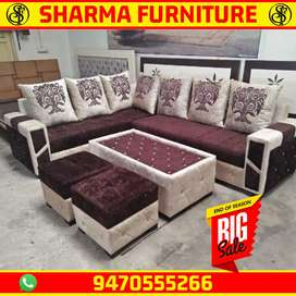 New design Sofa set L type with puffy and center table