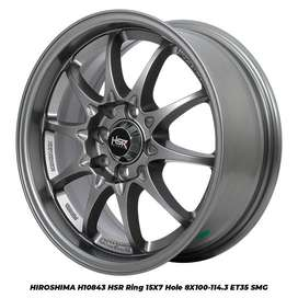 PROMO VELG HIROSHIMA HSR RING 15 HOLE8X100-114,3 SEMI MATT GREY