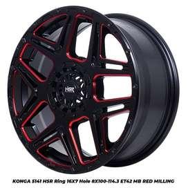 pelek racing KONGA 5141 HSR R16X7 H8X100-114,3 ET42 BK/RED MILLING