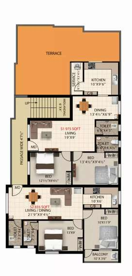2BHK 835 SQFT PAMMAL