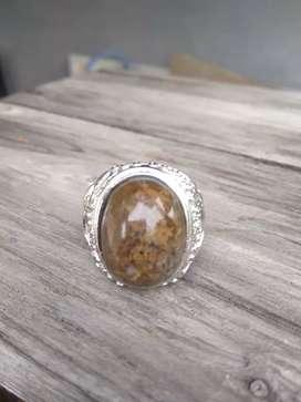 Cincin Natural Batu Akik Badar Lumut Coklat
