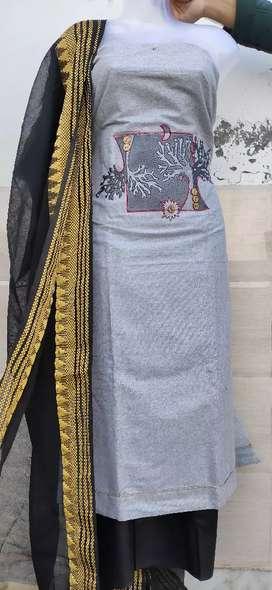 Khadi cotton suit with designer dupatta