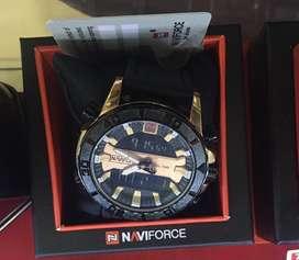 Naviforce dualtime black gold original fullset fiture lengkap