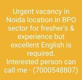 Vacancy in Noida Location for BPO sector.