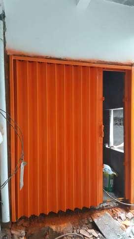 Folding gate rolling harmonika door siap pasang