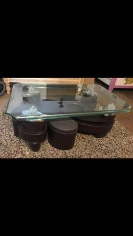 Centre table glass top with 4 stools