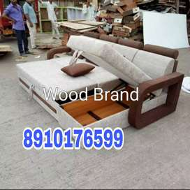 White and brown combination Hydraulic Sofa cumbed
