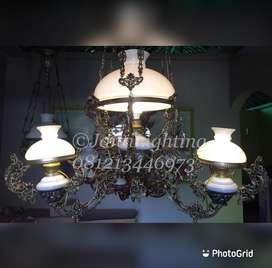 Lampu gantung katrol cabang OVJ dekorasi masjid ruanh tamu teras joglo