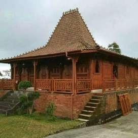 Rumah Kayu Jati Joglo Dinding Gebyok Ukir Soko 20cm luas 12x12 meter