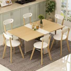 Clever-Space saving folding dining table white and Brown Table