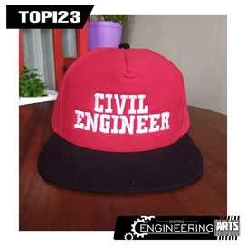 Topi Bordir Motif Civil Engineering Merah Hitam - TOPI23 Topi Snapback