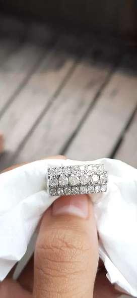 Cincin berlian baris 3 full berlian ring perak pladium