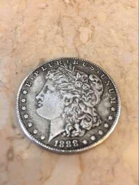 1888 Morgan silver dollar coin..San Fransisco minted original coin...
