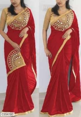 Designer Paper Silk Embroidered Regular Sarees