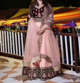 peach colored  lehnga wd embroidery dupatta and designer blouse