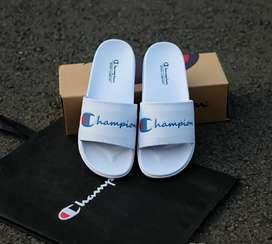Jual sandal champion white font