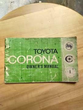 Buku Pedoman Pemilik Owner's Manual Book Toyota thn 70an