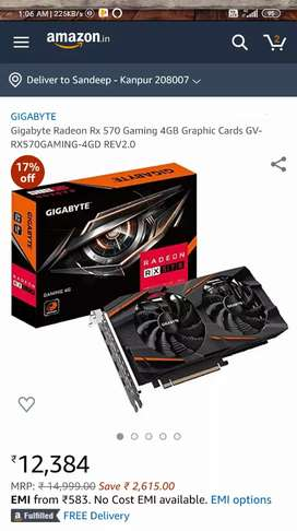 Gigabyte RX570 4GB GRAPHIC CARD..(20 Days Old)