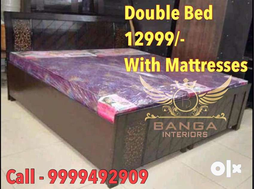 DOUBLE BED WITH FULL STORAGE WITH DOUBLE BED MATTRESS FREE FREE FREE