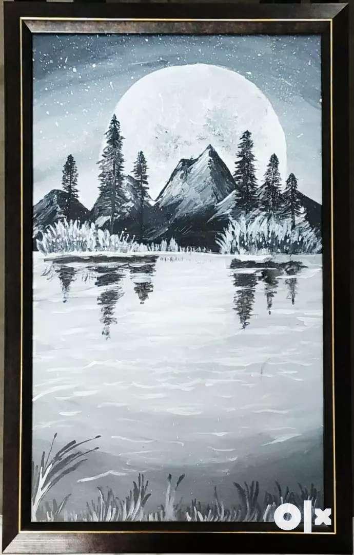 Night sky -Black & White Acrylic painting 0