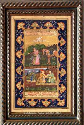 Mughal Miniature Panting with Gold ~