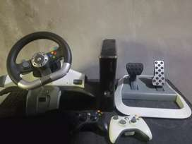 xbox360 with wireless steering wheel