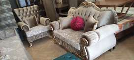 New luxury drawing room sofa set Seven Seater in imported shaineel
