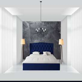MILLEN UPHOLSTERED STORAGE BED IN BLUE COLOUR