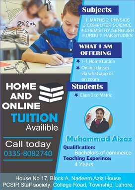 Online and Home tuition