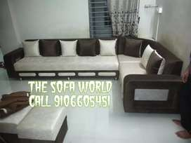 7 seater Broun and white sectional couch