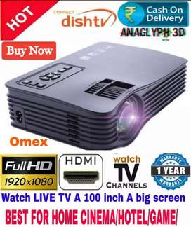 LOW PRICE 100 INCH BEST HOME CINEMA HD PROJECTOR USB HDMI AUX TV SD