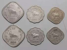 Rare set of Bull coins 2Anna/1, Anna/1/2 Anna set of 3:@ ₹ 1200/-