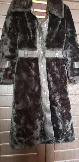Black fur coat for winter
