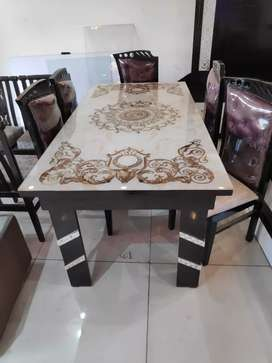 Marble look top six seater dining table easy emi