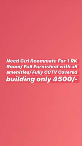 Looking for girl roomate/1 RK/Fully Furnished Room/Sohna Road