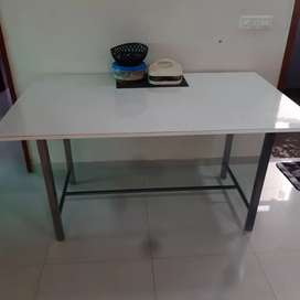 Dinning table with powder coated steel frame