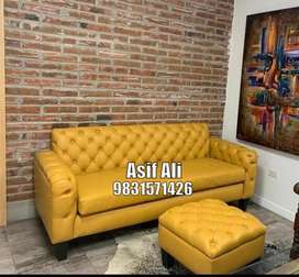 Manufacturing three seater sofa and puff