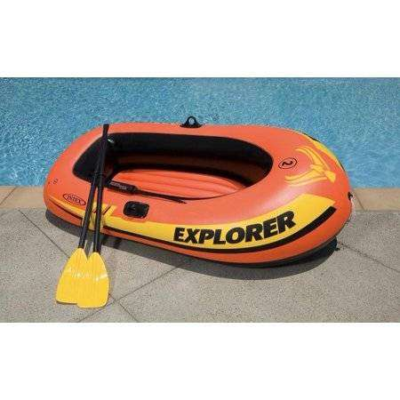 Intex Explorer 200 Inflatable 2 Person River Boat Raft Set with 2 Oars 0
