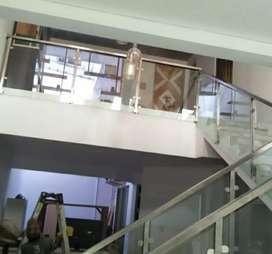 Railing tangga stainless kaca dan balkon kaca #1825