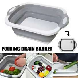 Foldable Drain Basket with Cutting Board
