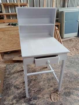 meja belajar jati belanda warna putih