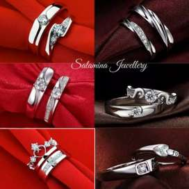 Aksesoris wanita pria pasangan cincin permata couple perak silver