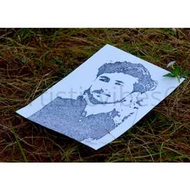 Costumized portrait sketch made with dots.