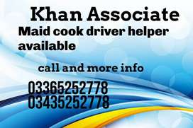KHAN) Provide Cook, Helper,Driver, Maid, All Domestic Staff Available