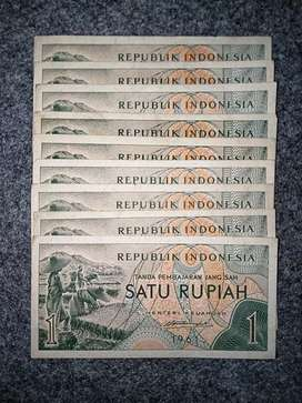 Boongan 9 Uang kertas jadul Satu Rupiah th 1961 Petani